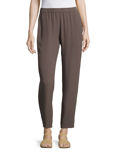 Eileen Fisher Silk Slouchy Ankle Pants-DARK BROWN-X-Small 89144664_DARK BROWN_X-Small