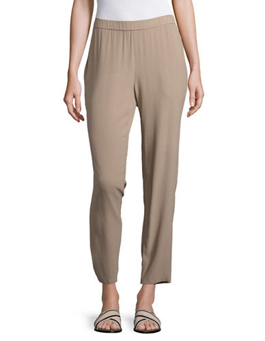 Eileen Fisher Silk Slouchy Ankle Pants-BROWN-Large 89043932_BROWN_Large