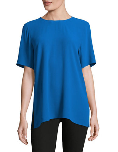 Eileen Fisher Silk Georgette Crepe Boxy Top-CATALINA-Small 89043698_CATALINA_Small