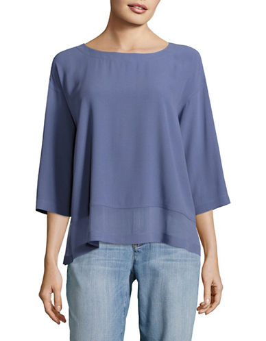 Eileen Fisher Bateau Neck Top-BLUE-Large