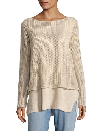 Eileen Fisher Organic Linen Textured Double Layer Top-BEIGE-Large