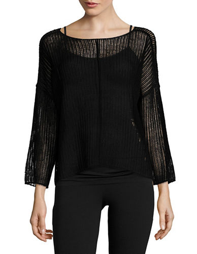 Eileen Fisher Organic Linen Twisted Rib Boxy Top-BLACK-X-Small