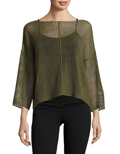 Eileen Fisher Organic Linen Twisted Rib Boxy Top-OLIVE-X-Small