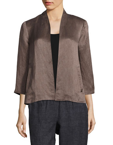 Eileen Fisher Organic Linen and Silk Satin Jacket-BROWN-X-Small 89144699_BROWN_X-Small