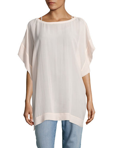 Eileen Fisher Silk Boxy Tee-PINK-X-Small 89043936_PINK_X-Small