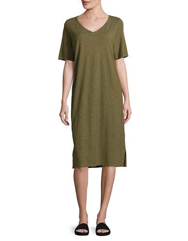 Eileen Fisher Hemp Organic Cotton Twist V-Neck Dress-OLIVE-X-Small