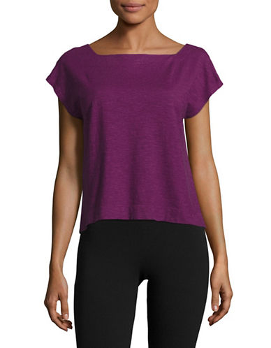 Eileen Fisher Square Neck Cropped Top-PURPLE-Large