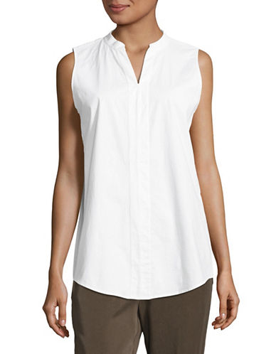 Eileen Fisher Sleeveless Cotton Tunic-WHITE-Large