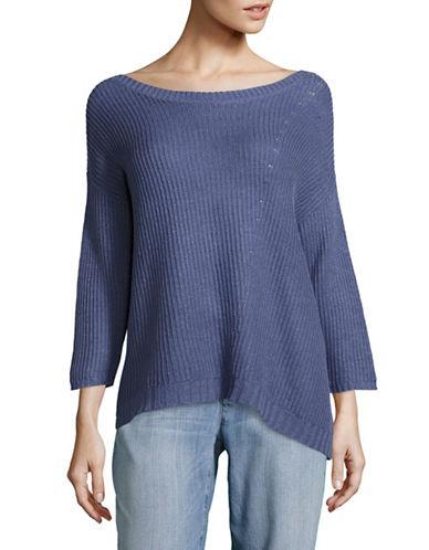 Eileen Fisher Organic Linen Bateau Neck Boxy Sweater-BLUE-Medium
