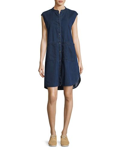 Eileen Fisher Sleeveless Denim Dress-MIDNIGHT-Large