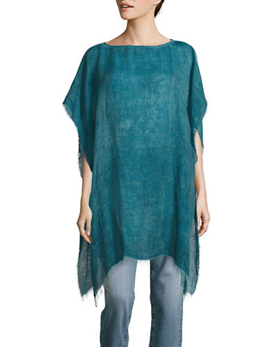 Eileen Fisher Maltinto Modal and Organic Linen Poncho-BLUE-One Size