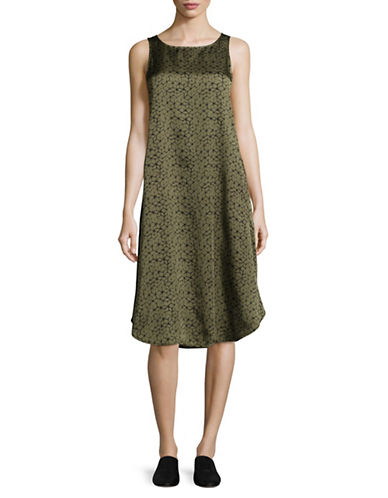 Eileen Fisher Mosaic Silk Blend Dress-OLIVE-X-Small
