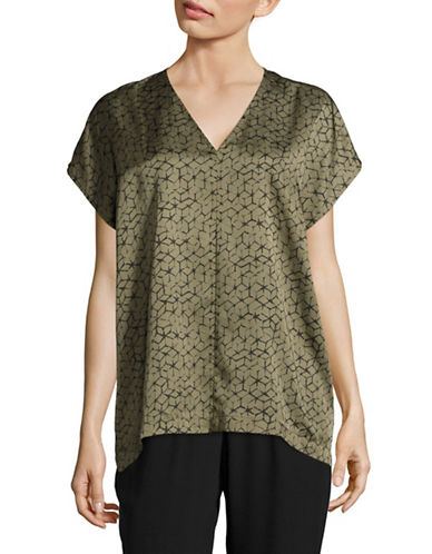 Eileen Fisher Mosaic Silk Blend Top-OLIVE-X-Small