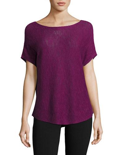 Eileen Fisher Organic Linen Blend Top-PURPLE-Medium