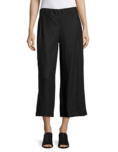 Eileen Fisher Cropped Wide Pants-BLACK-X-Large 89236427_BLACK_X-Large