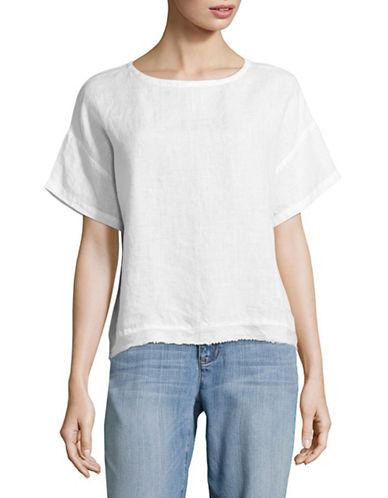 Eileen Fisher Handkerchief Organic Linen Tee-WHITE-X-Small 89144741_WHITE_X-Small