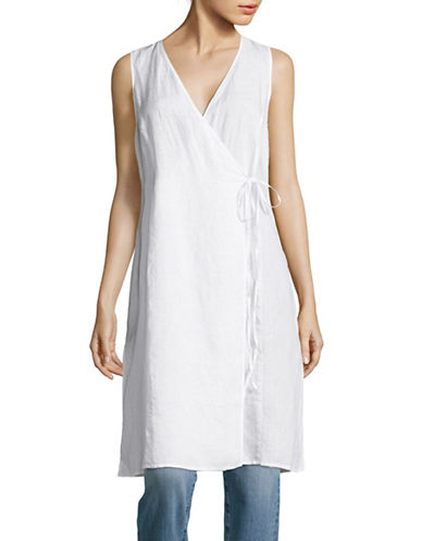 Eileen Fisher Sleeveless Long Wrap Top-WHITE-Medium