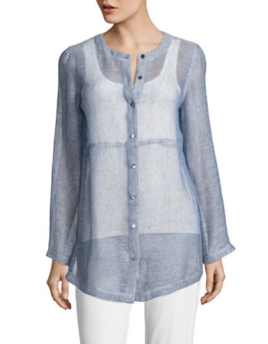 Eileen Fisher Crew Neck Organic Linen Top-BLUE-X-Small 89144761_BLUE_X-Small