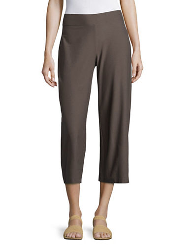 Eileen Fisher Stretch Crepe Wide Cropped Pants-BROWN-Medium 89144779_BROWN_Medium