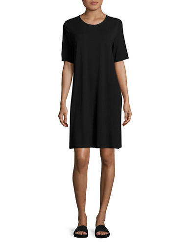 Eileen Fisher Jersey T-Shirt Dress-BLACK-Small