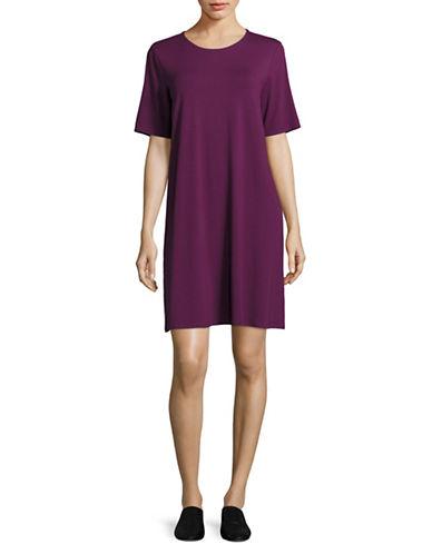 Eileen Fisher Jersey T-Shirt Dress-PURPLE-Large