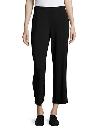 Eileen Fisher Stretch Cropped Pants-BLACK-X-Small