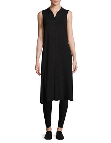 Eileen Fisher Mandarin Collar Duster Vest-BLACK-Large