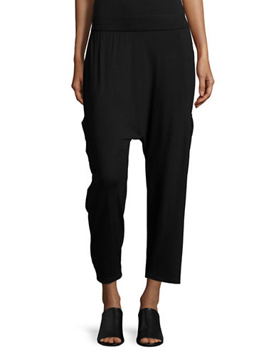 Eileen Fisher Slouchy Cropped Pants-BLACK-Small