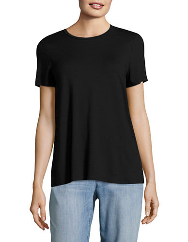 Eileen Fisher Round Neck Cap Sleeve Tee-BLACK-Small 89288310_BLACK_Small