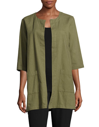 Eileen Fisher Open Front Cotton Jacket-OLIVE-X-Large