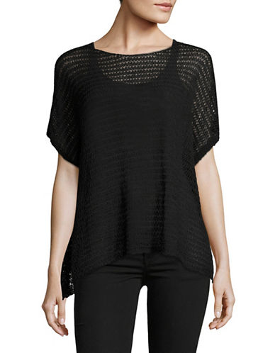 Eileen Fisher Open Knit Linen-Blend Top-BLACK-X-Small/Small
