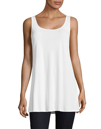 Eileen Fisher Scoop Neck Long Tank-WHITE-X-Large
