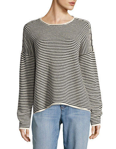 Eileen Fisher Organic-Cotton Blend Stripe Sweater-SOFT WHITE-Large