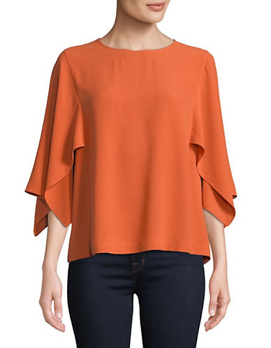 Flutter Sleeve Silk Blouse by Eileen Fisher