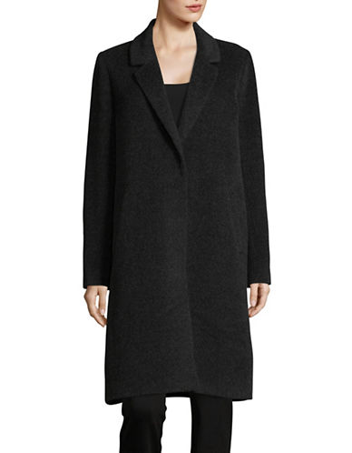 Eileen Fisher Notch Collar Wool-Blend Coat-GREY-Medium
