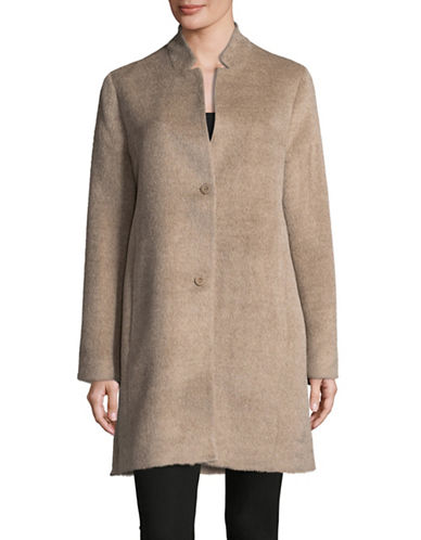 Eileen Fisher Drape Suri Alpaca Long Coat-ALMOND-Large