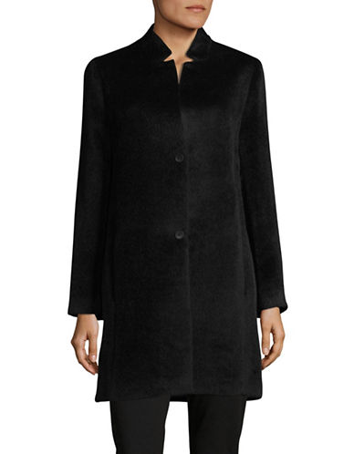 Eileen Fisher Drape Suri Alpaca Long Coat-BLACK-Medium
