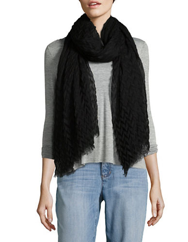 Eileen Fisher Pleated Silk and Wool Scarf-BLACK-One Size