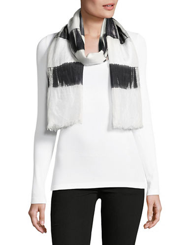 Eileen Fisher Silk Shibori Block Stripe Scarf-BLACK-One Size
