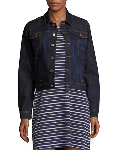 Eileen Fisher Cropped Denim Jacket-DEEP INDIGO-Small