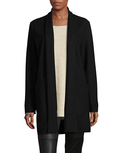Eileen Fisher Shawl Collar Long Wool Jacket-BLACK-Medium