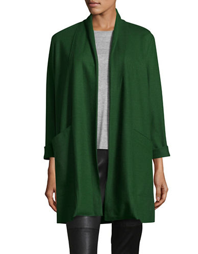 Eileen Fisher Shawl Collar Long Wool Jacket-DEEP HEMLOCK-Small