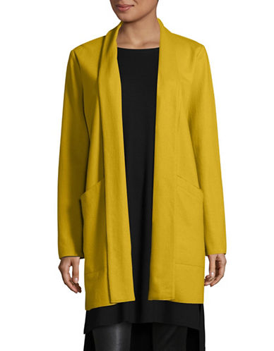 Eileen Fisher Shawl Collar Long Wool Jacket-MUSTARD-Large