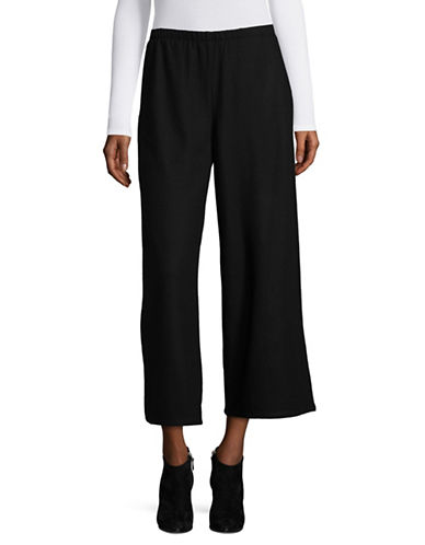 Eileen Fisher Wide Cropped Pant-BLACK-Large
