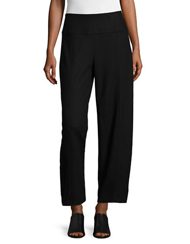 Eileen Fisher Wool Wide-Leg Ankle Pants-BLACK-Small