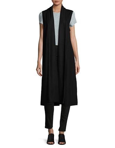 Eileen Fisher Wool Shawl Collar Vest-BLACK-Medium