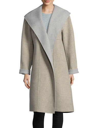 Eileen Fisher Wool-Blend Shawl Collar Coat-OATMEAL-Small