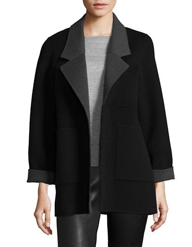Eileen Fisher Brushed Wool-Blend Double-Faced Jacket-BLACK-Large