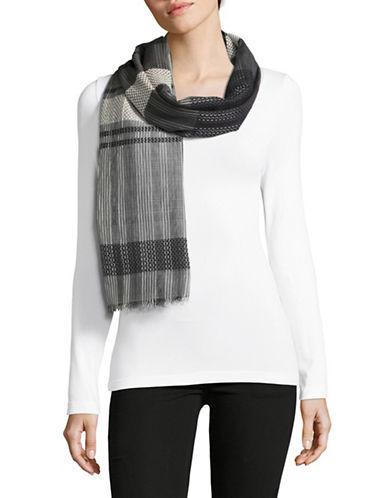 Eileen Fisher Organic Cotton-Silk Diamond Stripe Scarf-BARK-One Size