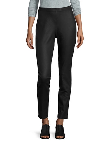 Eileen Fisher Coated Organic Cotton Jeggings-BLACK-Small